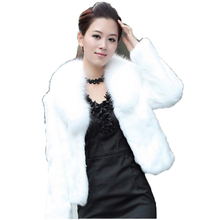 Faux fur coat women winter new Korean version short long sleeve white black S-2XL plus size Slim fashion faux jacket JD386