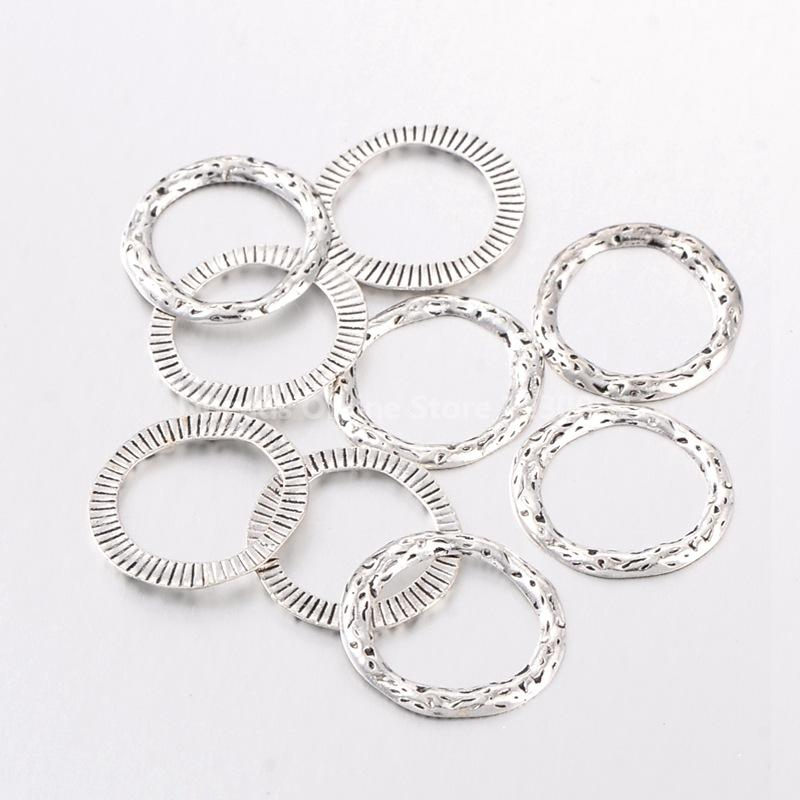 ᗔantique silver alloy linking rings Φ lead free