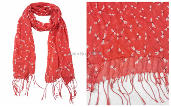 Dragonfly Print Tassel Scarf Small Size for Children Lightweight Accessories for Gift, Free Shipping
