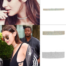 Trendy Wedding Party Prom Stretch Crystal Choker Necklace Fashion Jewelry Accessories Elastic Cord Pageant Collar Christmas Gift