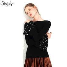 Sisjuly Faux Pearl Flare Sleeve Women Sweater Office Lady Gothic Black Yellow Gray White Blue Khaki Spring Winter Knitwear(China)
