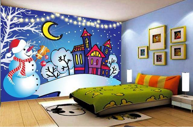 customize 3d wall murals wallpaper Cartoon Christmas Eve snowman 3d