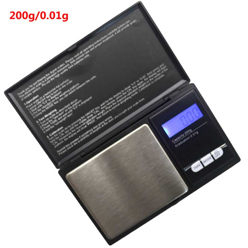 200g/0.01g Mini Digital Jewelry Scale Portable Pocket Gram Scales Weight Balance with Tare Weighing Function LCD Backlight