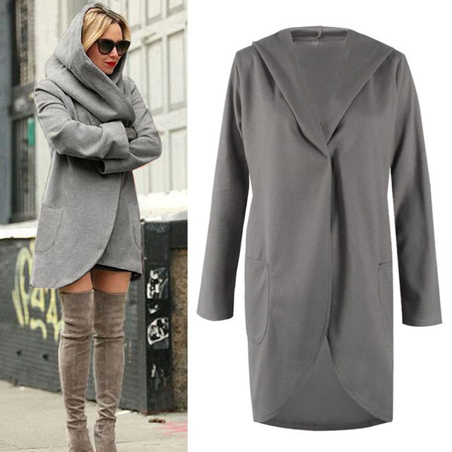 3d4e524265a06 Women Sexy Black Hooded Trench Coat 2018 Autumn Winter Wool Coat Warm jacket  female Overcoat Womens Winter Jackets Plus Size 4XL
