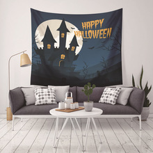 Tapestry Moon Wall Art Home Decor Halloween Wizard Pumpkin Castle Wall Hanging Yoga Mats Festive Gift Bedspread Beach Towel pumpkin lamp wall art halloween tapestry