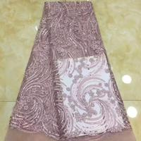 2019 High Quality African Lace Fabric Onion French Net Embroidery Sequins Tulle 3d Lace Fabric For Nigerian party Dress