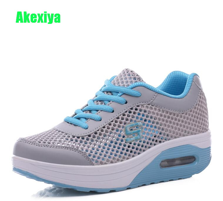 Akexiya Summer Women Flat Platform Shoes Woman Casual Air Mesh Breathable Shoes Gray  Height Increasing Swing Wedges Sneakers