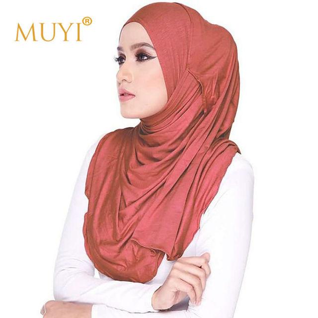 Instantánea Del Mantón musulmán Hijab Semi Doble Jersey Elástico Turbante Comfy Productos Islámicos Mujeres Cabeza Bufanda del Otoño Vestidos Accesaries