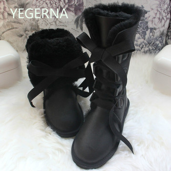 2017 Fashion Botas Mujer 100% Natural Fur Winter Boots Genuine Sheepskin Leather Women's Snow Boots  Waterproof Women Long Boots