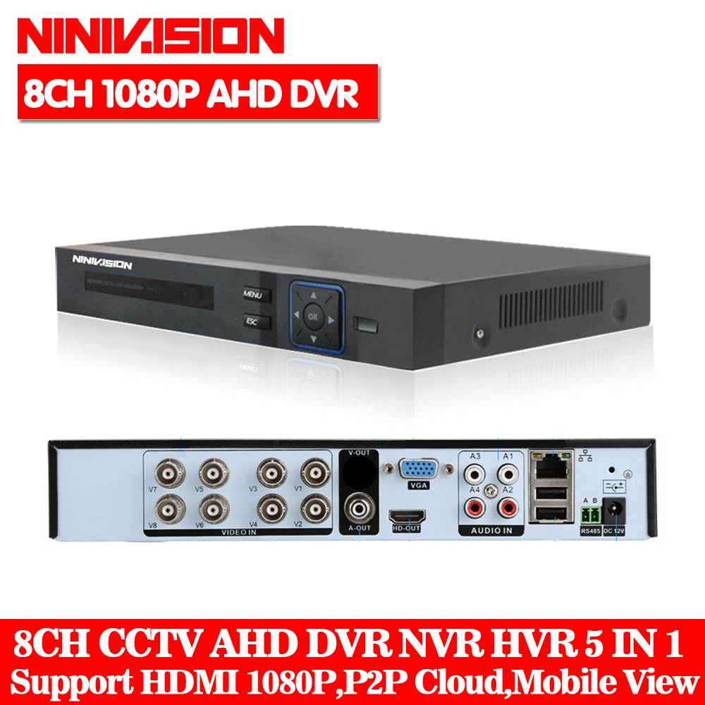 NINIVISION HD CCTV 8CH AHD 1080P Surveillance DVR NVR 8 Channel AHD-H 1080P HDMI Standalone Security 3G WIFI DVR Video Recorder