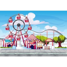 Laeacco Photo Backgrounds Baby Cartoon Playground Amusement Ferris Wheel Birthday Party Photography Backdrops For Studio