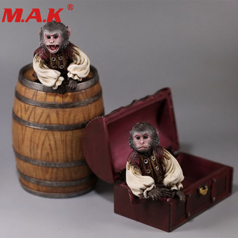 1:6 scale pirate 2 monkeys wine barrel treasure box house set model toy for 12 inches action figure collection accessories все цены