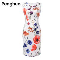 Fenghua Summer Dress Women 2017 Elegant Sexy Pencil Bodycon Dress Casual Sleeveless Floral Print Office Party