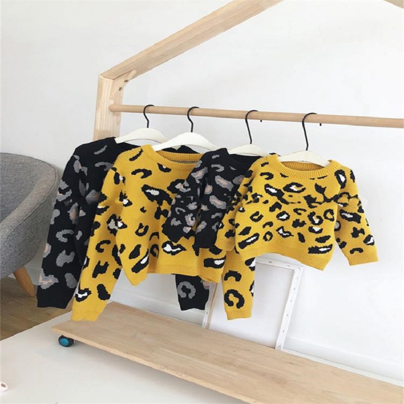 Family Leopard Sweaters Love Mommy Mother And Daughter Clothes Leopard Print Sweater For Family Matching Outfits Winter Clothing
