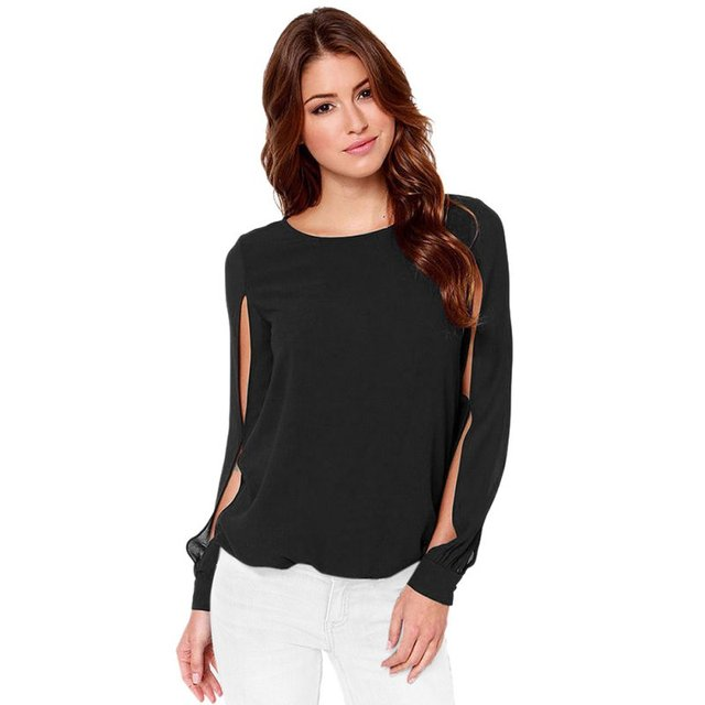 e29ca8be8fe Women Sexy Casual Chiffon Solid Long Sleeve Blouse Club Party Loose Blouse  Tops S-6XL Solid Chic Lady Vocation Wears