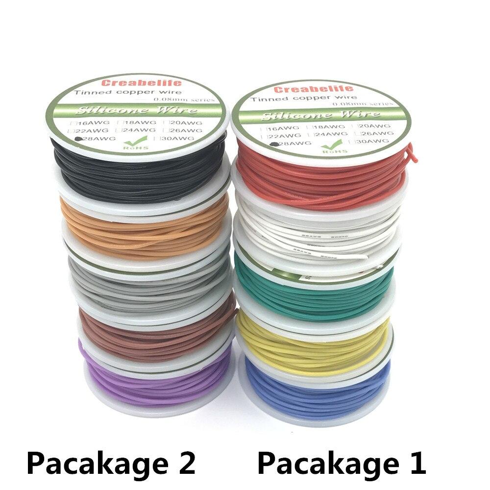 50 m 28 AWG Flexible Silicone Fil RC Câble 28AWG OD 1.2mm Ligne avec 5 Couleurs à Choisir Avec Le Paquet de Bobine 1 ou Paquet 2