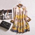 Женщины Весна Dress 2017 Мода Элегантные Желтый Цветочный Принт Шифон Бежевый Линия Платья Вскользь Тонкой Three Четверти Рукав Dress
