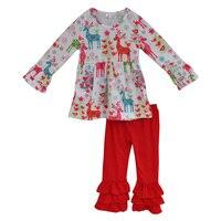 Boutique Giggle Lua Remake a Roupa Do Bebê do Algodão Da Criança Meninas Renas Outfits Crianças Conjuntos de Roupas Plissado Baratos Por Atacado C002