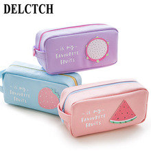 DELVTCH Portable Large Capacity PU Leather Pencil Bag Pen Case Storage Bags School Student Stationery Supplies