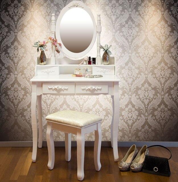 ikayaa us stock vintage vanity dressing table set make up dressing