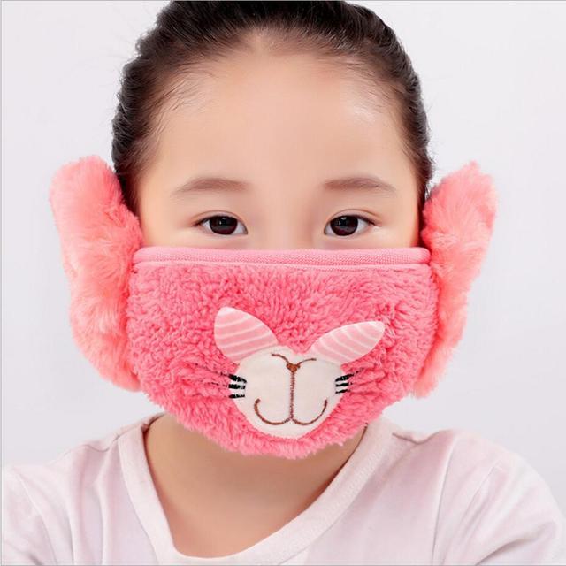 Cute rabbit Ear protective kids mouth mask Windproof earmuff anti dust winter masks Children Anti Haze Flu cotton Face masks 4
