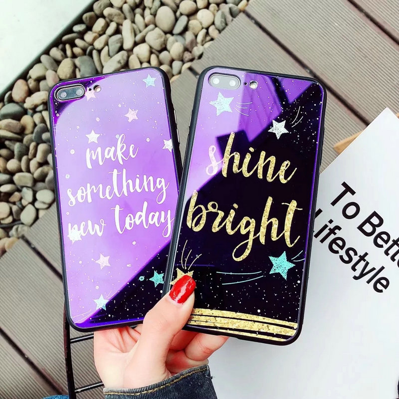 Luxury Blue Light Tempered Glass Phone Cases For iPhone 6/6 Plus/6s/6s Plus/7/ 7 Plus/8/8 Plus/X Case IX Characters Back Cover