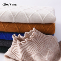 QingTeng Autumn Winter Women Cashmere Wool Blend Sweaters And Pullovers Female Half Turtleneck Argyle Pattern Knitted