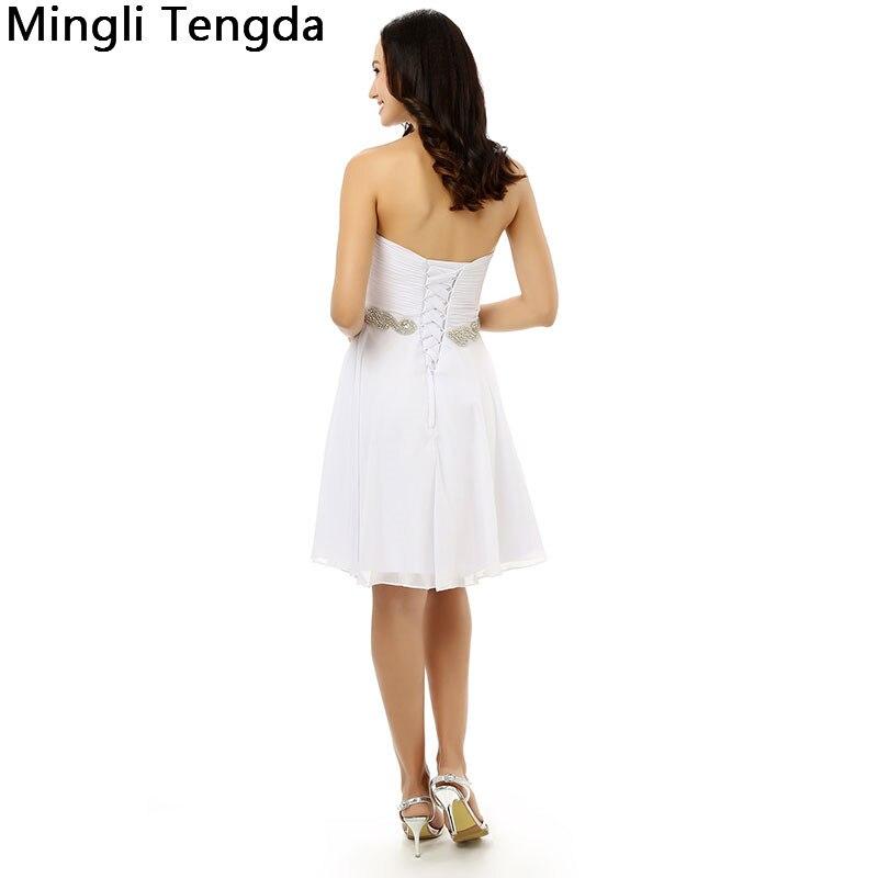 Mingli Tengda nouvelles robes de Demoiselle d'honneur en mousseline de soie ivoire Robe de Demoiselle d'honneur plissée avec des ceintures de perles chérie Robe Demoiselle D'honn - 4