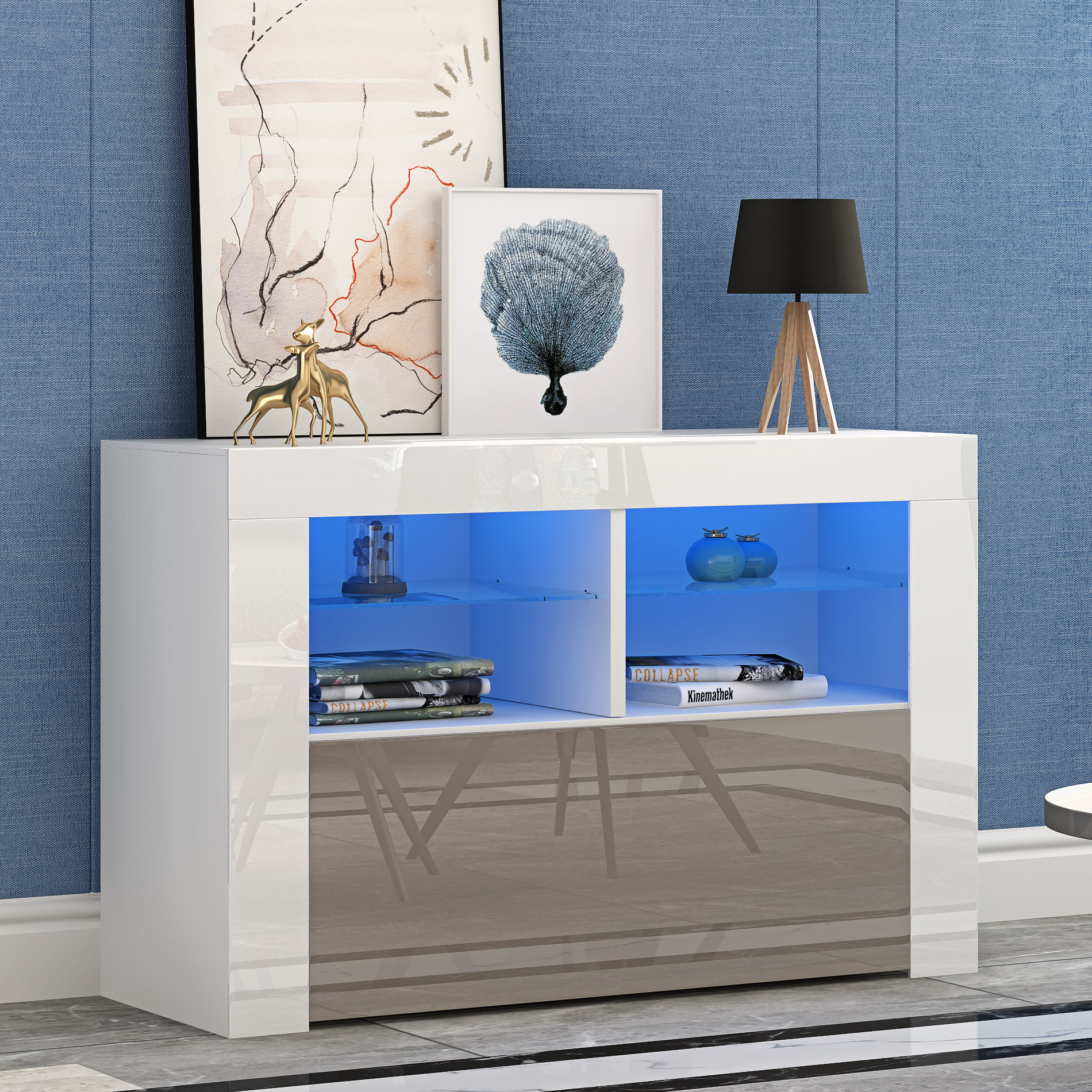 Panana Modern Living Room Furniture TV Cabinets High Gloss Doorshigh TV Stand Sideboard Matt Bedroom Organizer Display