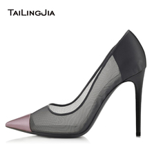 Mesh Dress Heels Stiletto Pumps Sexy High Heel Pointed toe Court Shoes Women Party Evening Large Size Wholesale 2018 Hotsale