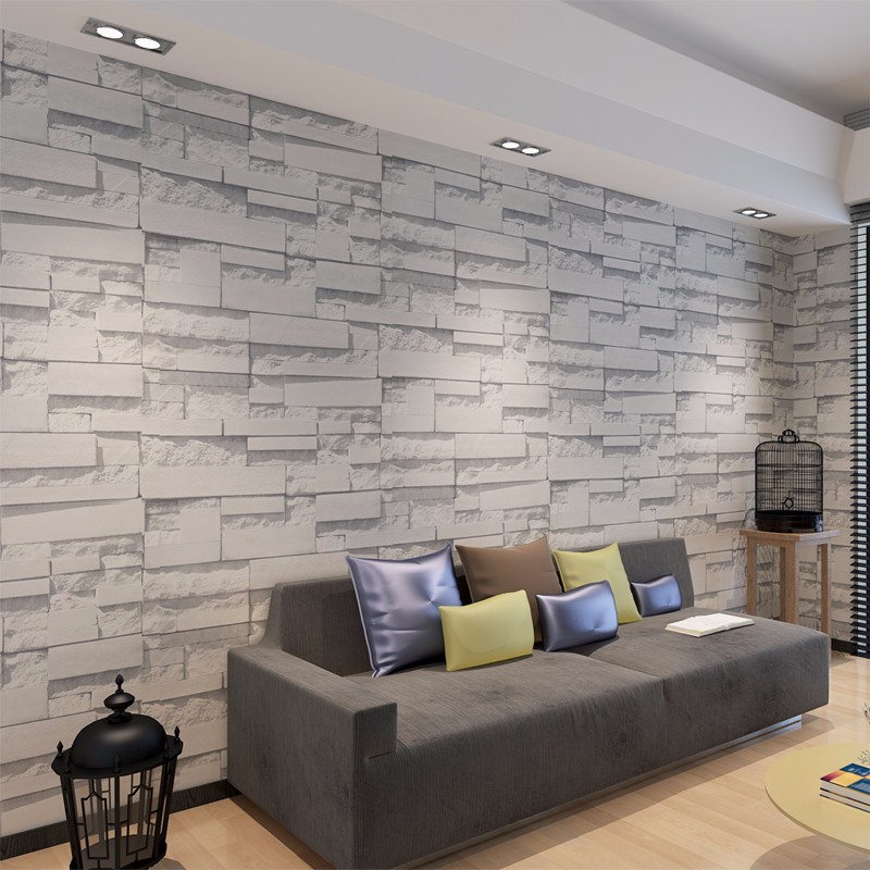 Waterproof brick wallpaper for walls 3d living room pvc 3d for Wallpaper home improvement questions