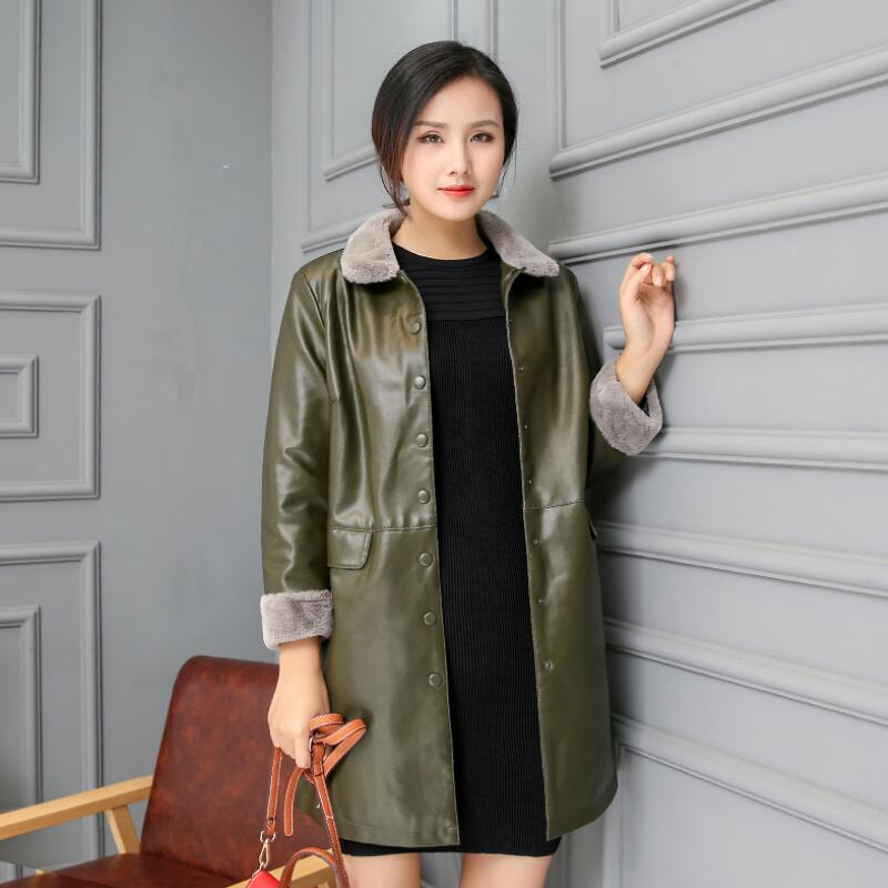 MSAISS 2018 Fashion Single Breasted Autumn Female   Leather   Jacket Winter Plus Size Faux   Leather   Coat Female Windbreaker 5XL