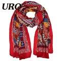 Estilo de China hijab bufandas de invierno cálido bufanda bohemina rojo del cabo de la gasa de moda bufanda caliente señora mantón de la bufanda mujeres 2016