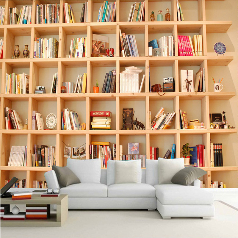 Us 8 67 54 Off Photo Wallpaper 3d Bookshelf Mural Living Room Study Background Wall Painting Non Woven Eco Friendly Mural Wall Paper Home Decor In