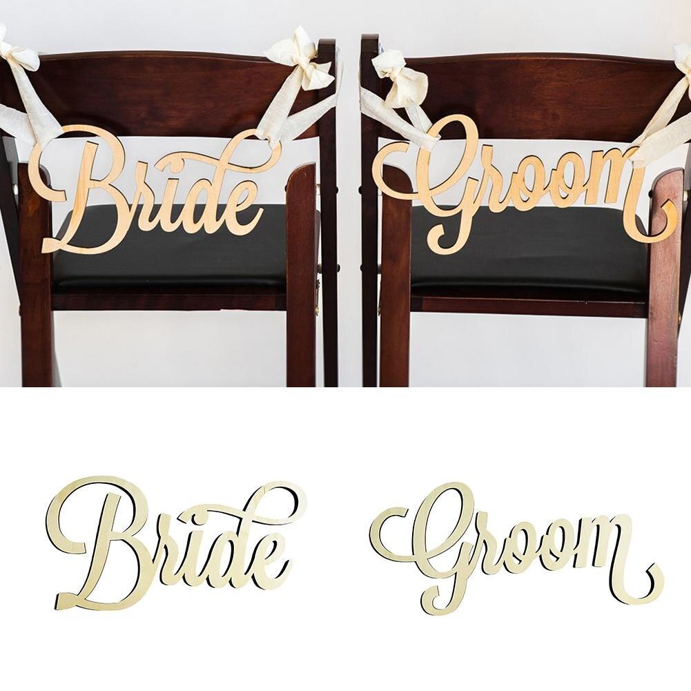 2 шт./компл. Жених и невеста свадьба Рустик деревянный стул знак Mr & Mrs кресло знаки деревянные знаки реквизит для фотосессии Свадебная вечери...