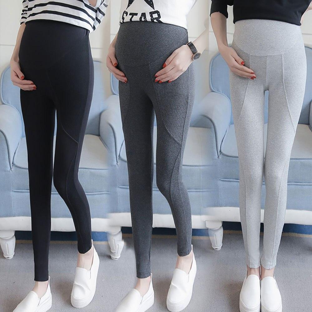 Plus Size Pregnant Womens Adjustable Elastic Pants High Waist Maternity Leggings