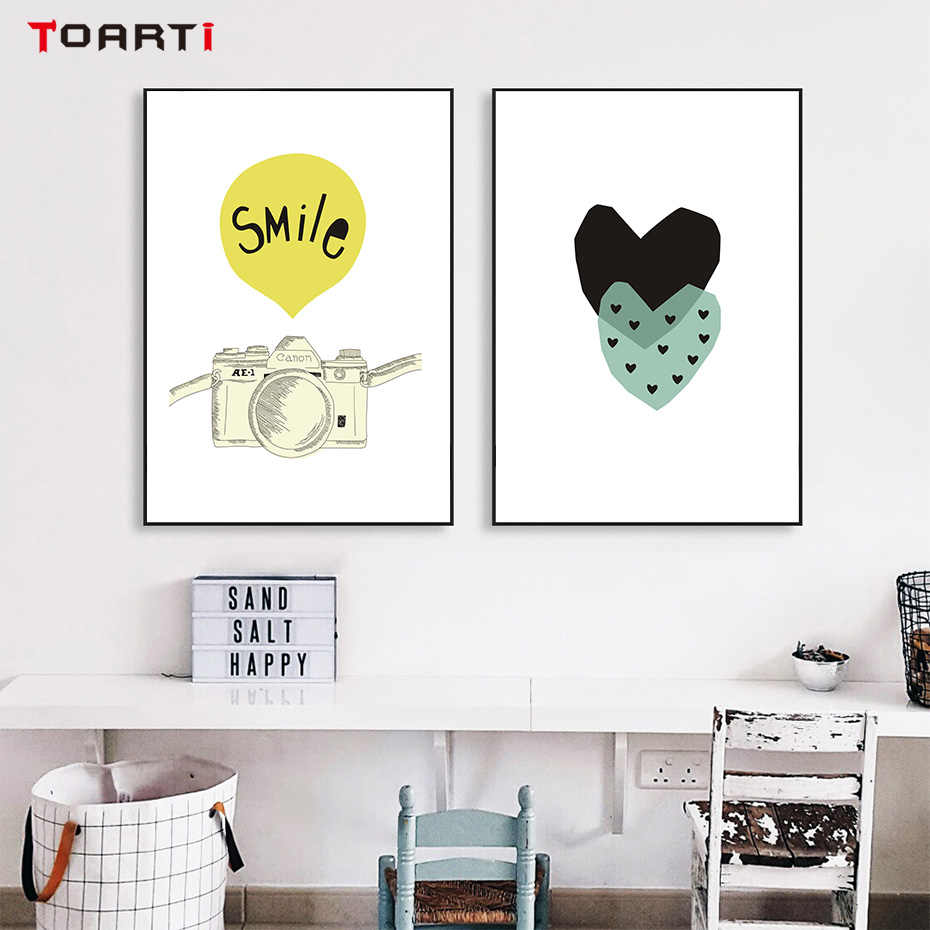Geometry Heart Poster And Prints Canvas Picture Abstract Line Child Wall Painting For Nursery Room Home Decor Modular Art Murals