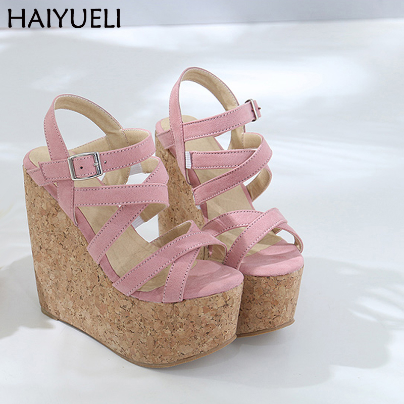 Zapatos Mujer Verano 16cm Womens Sandals Platform Black High Heels Summer Pink Sandals Women Shoes Casual Gladiator Sandals