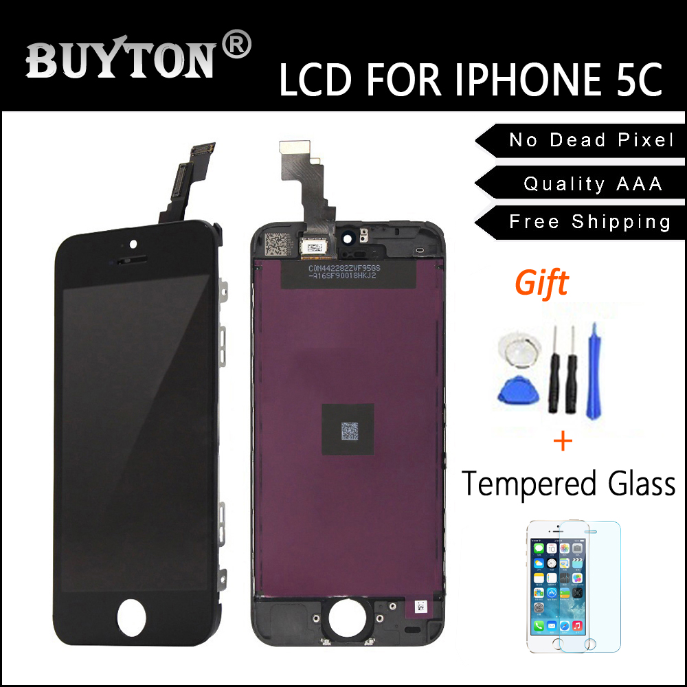 BUYTON 100% No Dead Pixel with A+++ Quality Black For iPhone 5C 5S 5 Display Screen Digitizer Assembly Replacemen