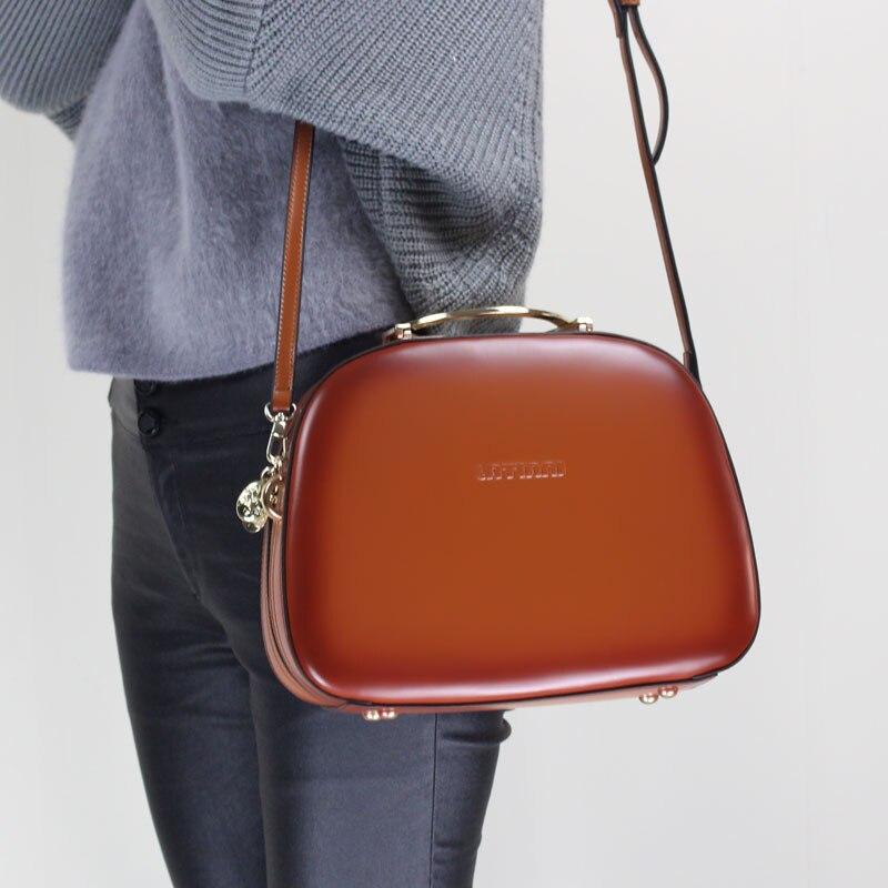 Shell Handbag 2019 Ladies Fashion Messenger Bag Handmade Genuine Leather Shoulder Sling Bag Cow Leather Elegant