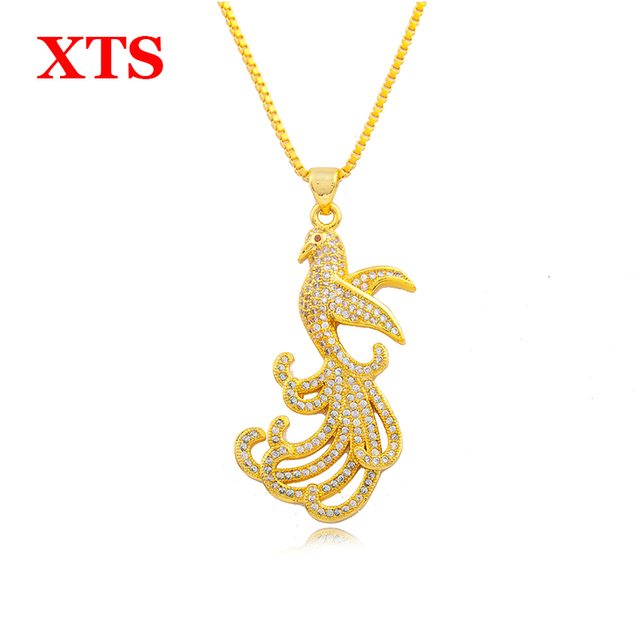 24k gold phoenix necklace pendants with crystal rhinestone shinning 24k gold phoenix necklace pendants with crystal rhinestone shinning gold chain necklaces for valentines day gift aloadofball Images