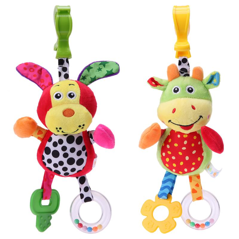 Baby Appease Teether Toy Animals Baby Stroller Bed Crib Hanging Toys Baby Rattles with BB Sound Cute Plush Mobile Hand Bell Gift
