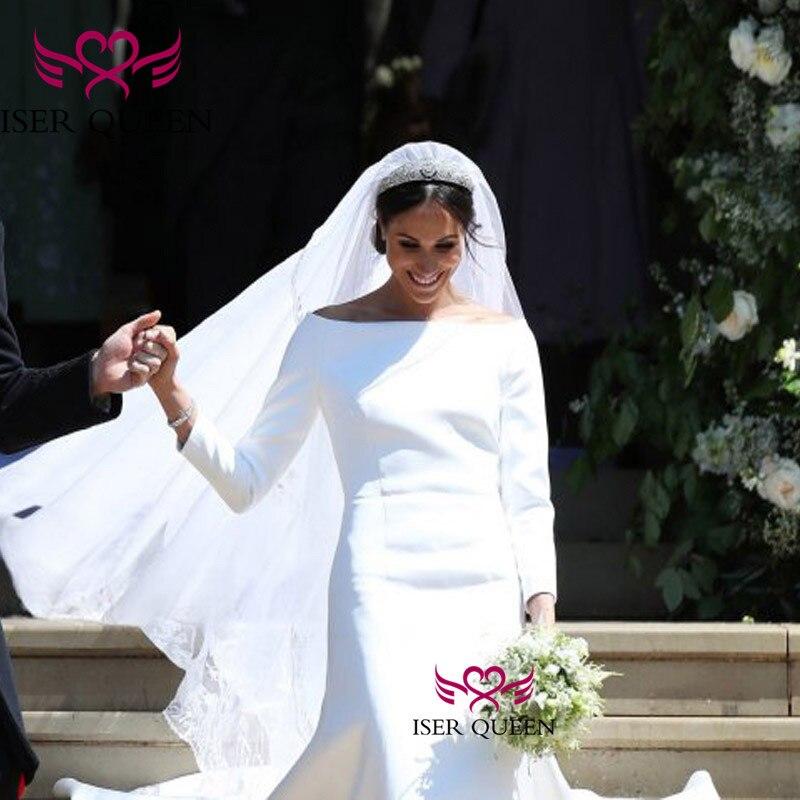 Boat Neckline Long Sleeves British Style Pure White Bridal Gown Court Train Vestido De Fiesta Largos De Noche Elegante  W0543