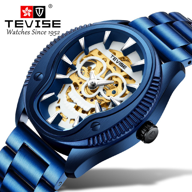 New Famous Brand Business Steel Waterproof Hollow Luminous Skull head Watch Men Automatic Mechanical Wrist Watches Reloj Hombre