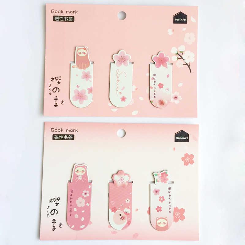 1 Set Verse Cactus Sakura Eenhoorn Magnetische Bladwijzers Boeken Marker van Pagina Student Stationery School Office Supply