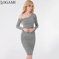 LOGAMI One Shoulder Bodycon Dress Women Long Sleeve Sexy Party Dresses Ladies Midi Pencil Dress Grey White 2017