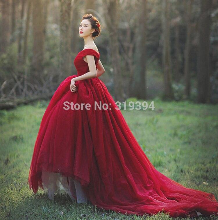 vestido de noiva dark red/burgundy wedding dresses off the shoulder ...