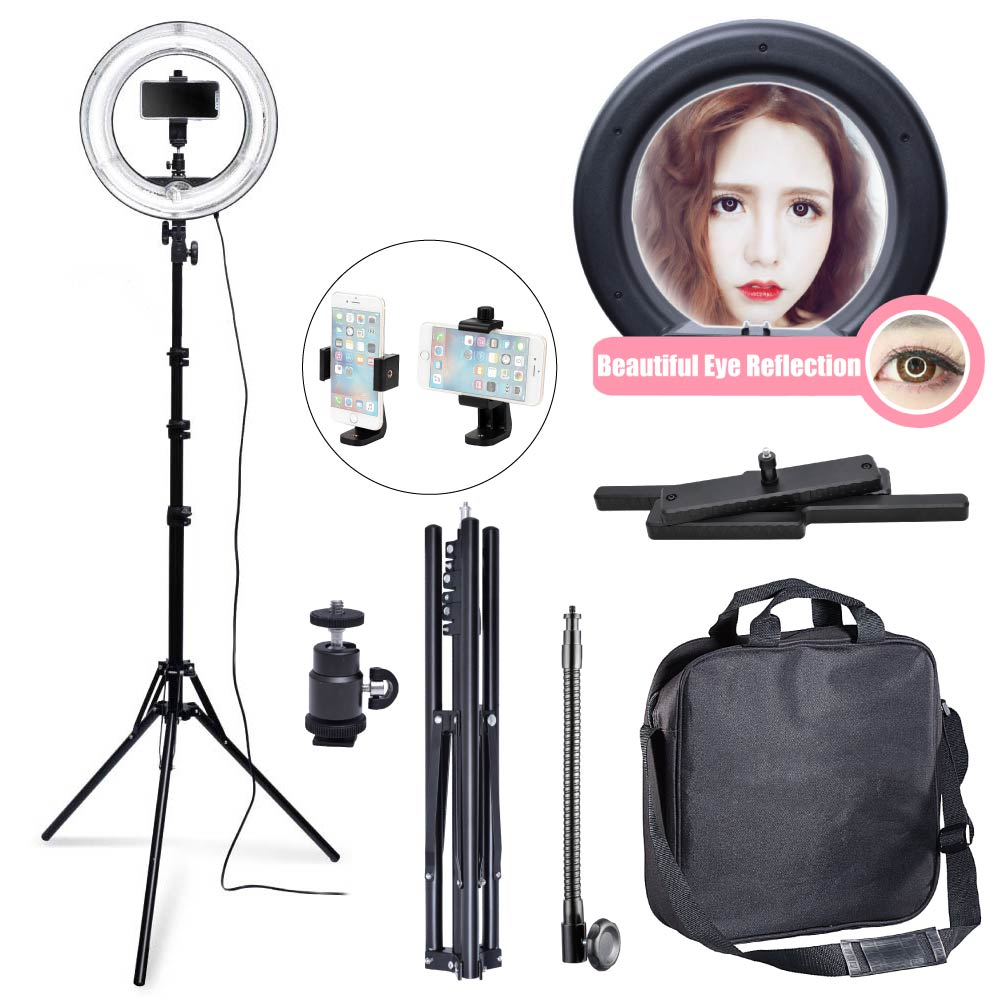 400W 5500K 34cm Fluorescent Ring Light with 185cm Tripod Stand + 360 Phone Holder for Photography Video Selfie 220V