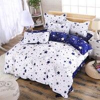 KELUO Home Textile 3/4pcs King Size Bedding Sets Duvet Cover Sets Pillowcases Flat sheet Stars Printing