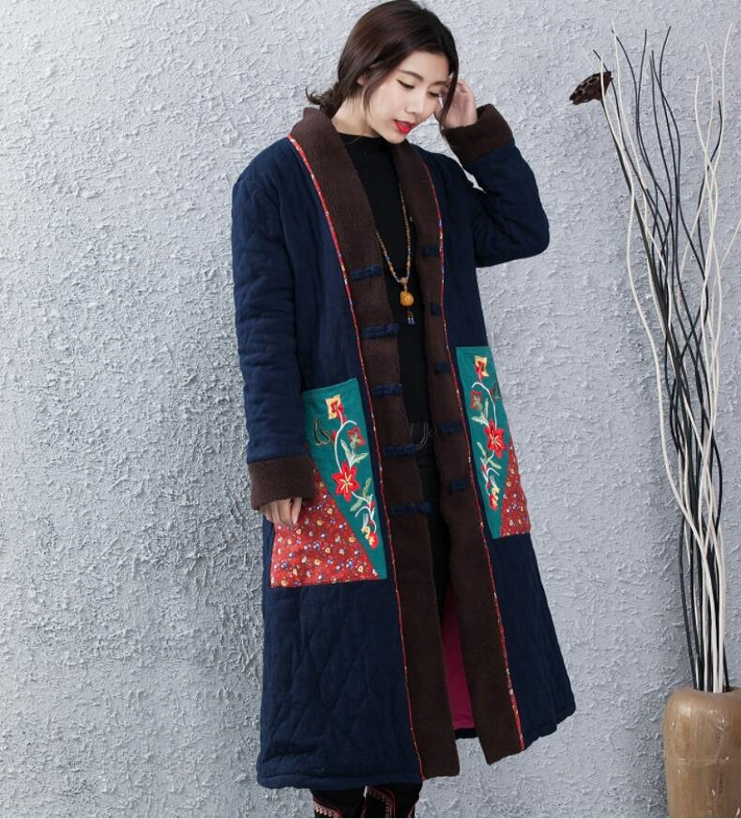 Women Retro Outerwear Long Jackets Chinese Tradition Cotton Padded Trench Coat Linen Cotton Padded Maxi Long Coats Parka Loose